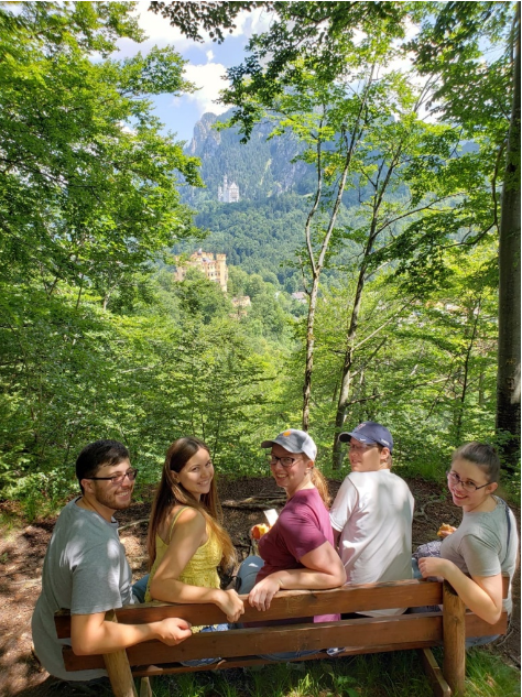 Liz and friends hiking near Neuschwanstein castle