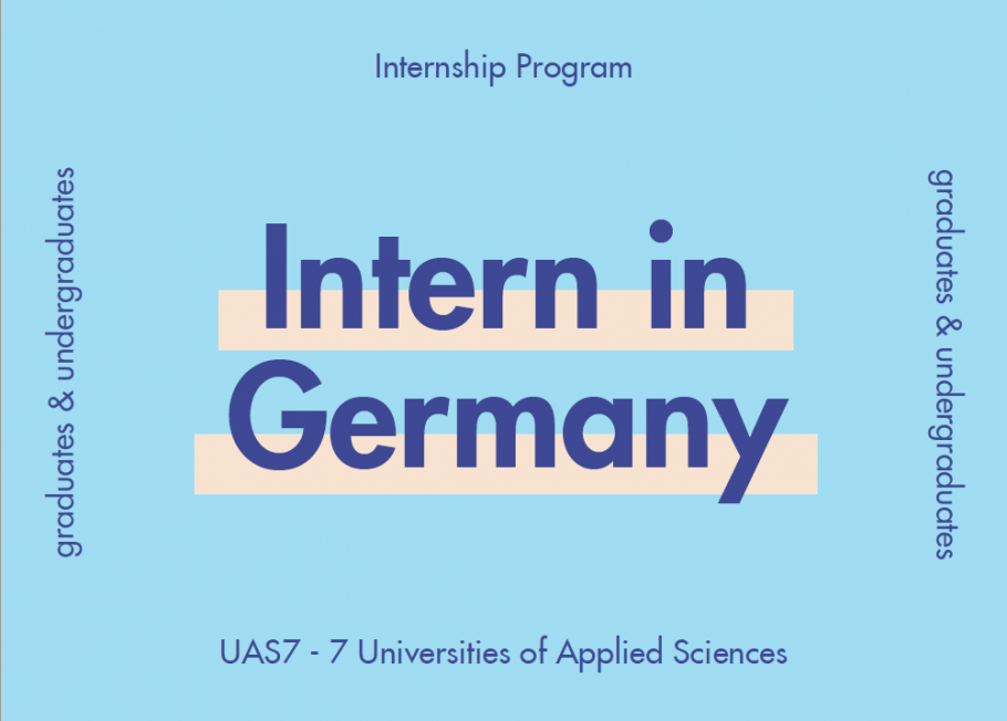 "Dark blue text on light blue background: ""Intern in Germany"""
