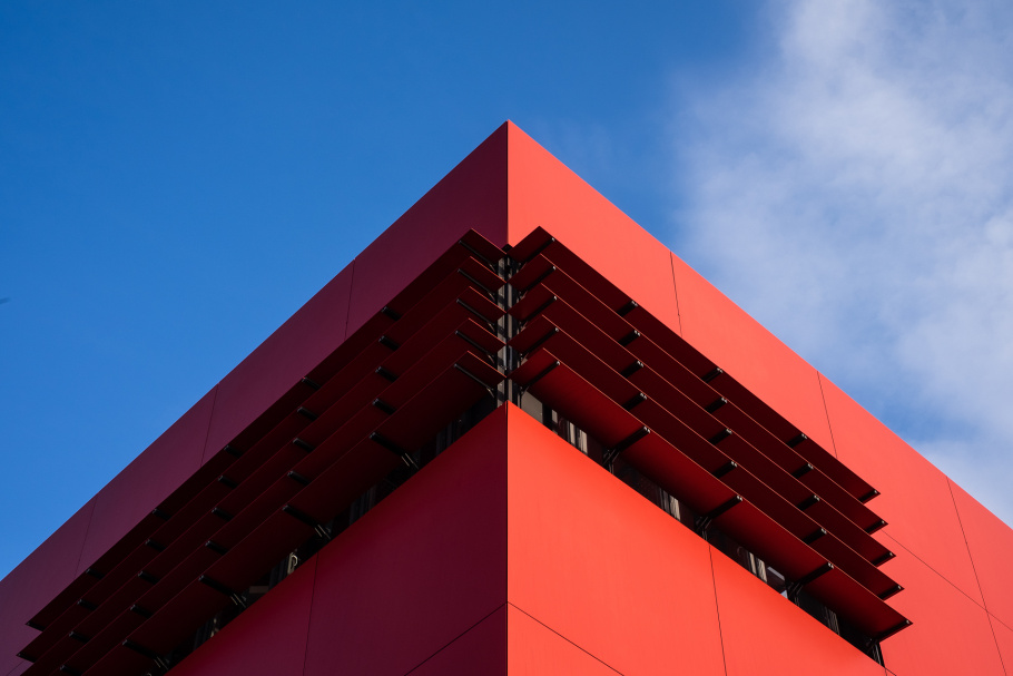 MUAS Building in red cube shape