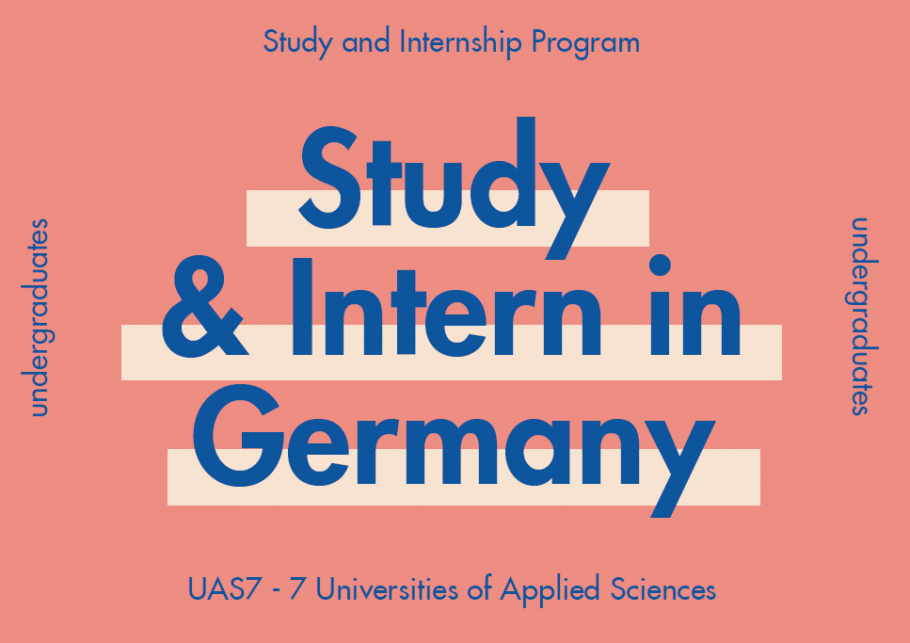 "Dark blue text on pink background: ""Study & Intern in Germany"""
