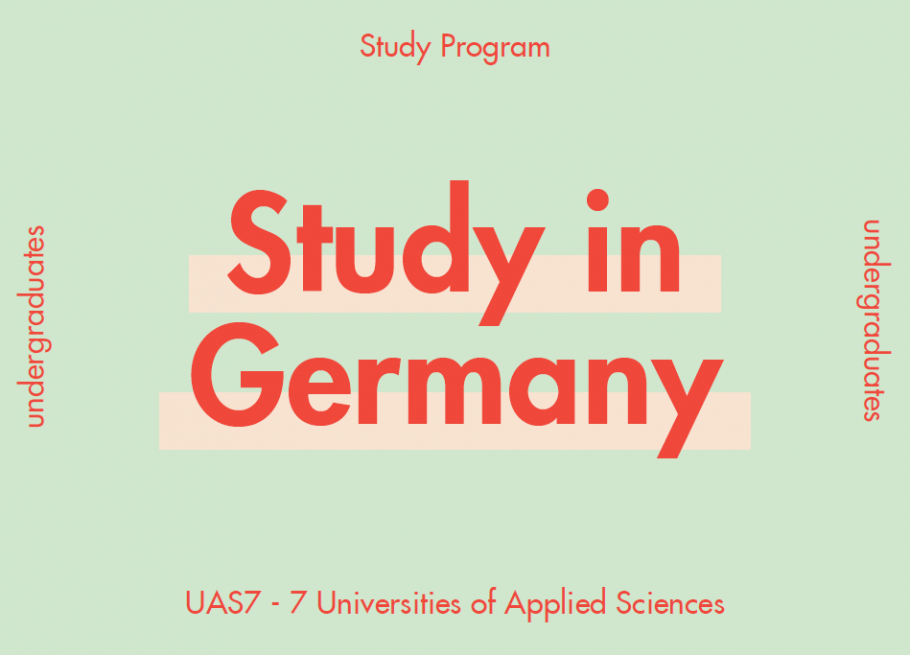"Orange Text on green background: ""Study in Germany"""
