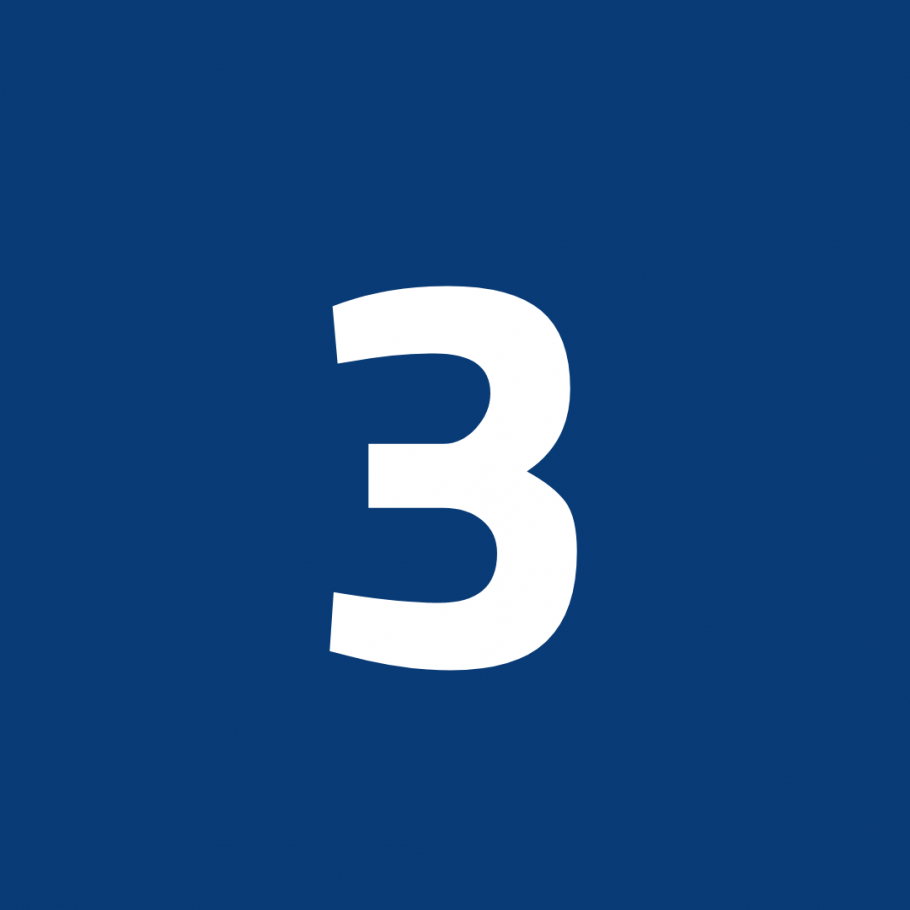 White number 3 on blue background