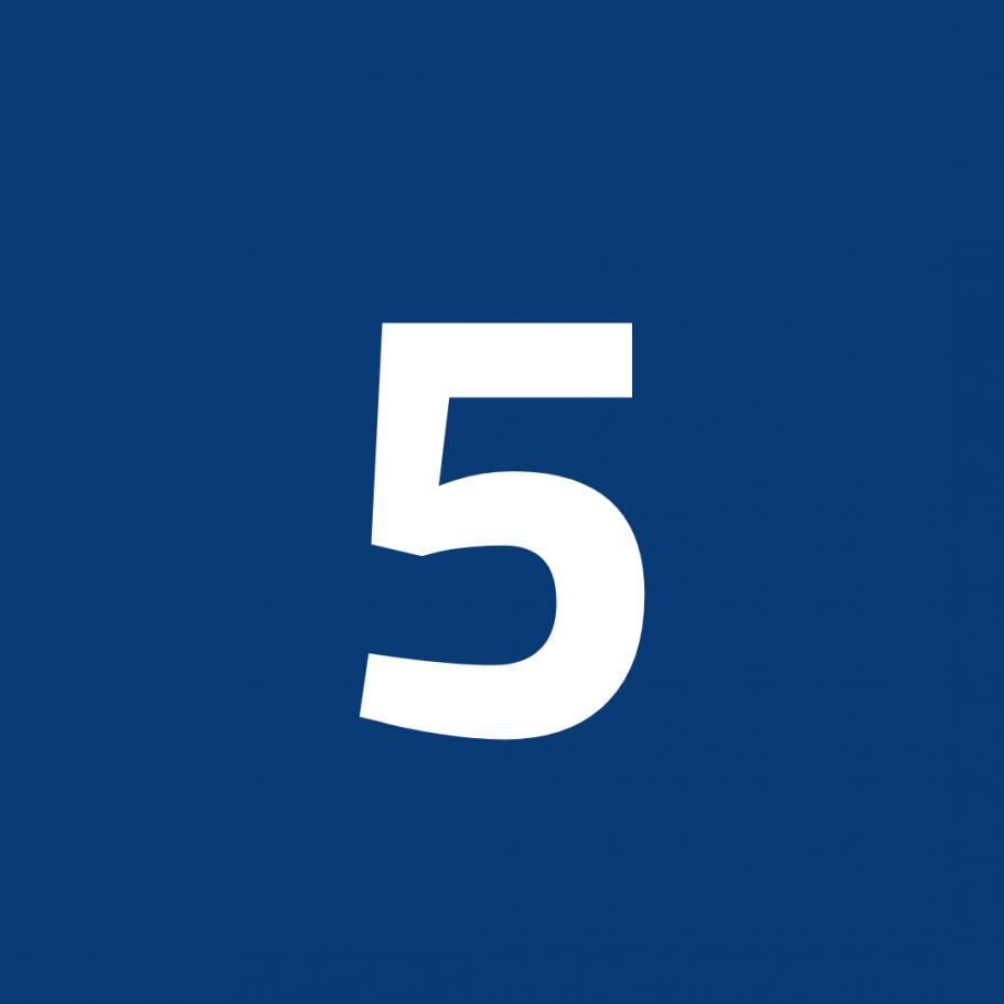 White number 5 on blue background