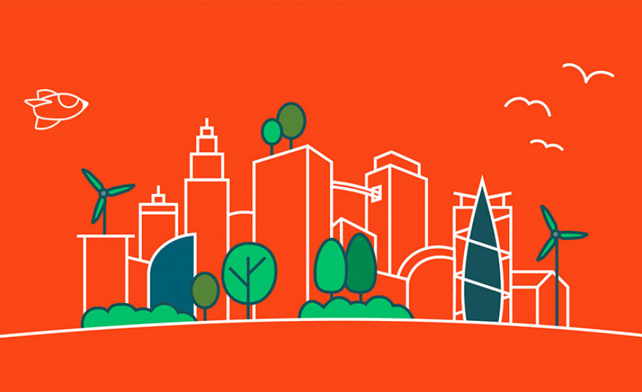 Drawing of a city skyline on orange background